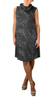 Cowl Neck Printed Sleeveless Designer Sweater Dress