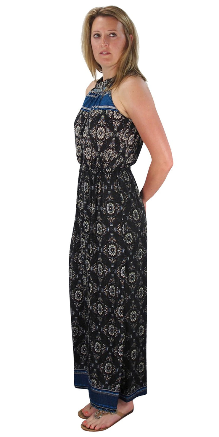 Peach Couture Bohemian Paisley Print Scoop Neckline Summer Halter Maxi Dress