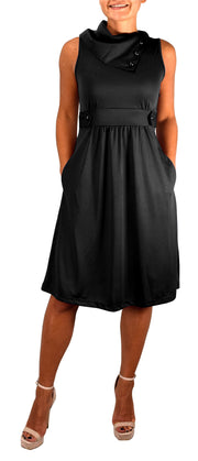 B4068-Foldover-Collar-Dress-Black-XS-SD