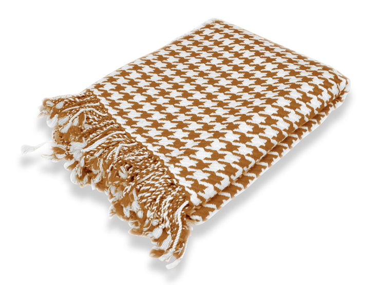 Home Collection Soft and Luxurious Cashmere Wool Houndstooth Throw 50 x 60 in (Brown)