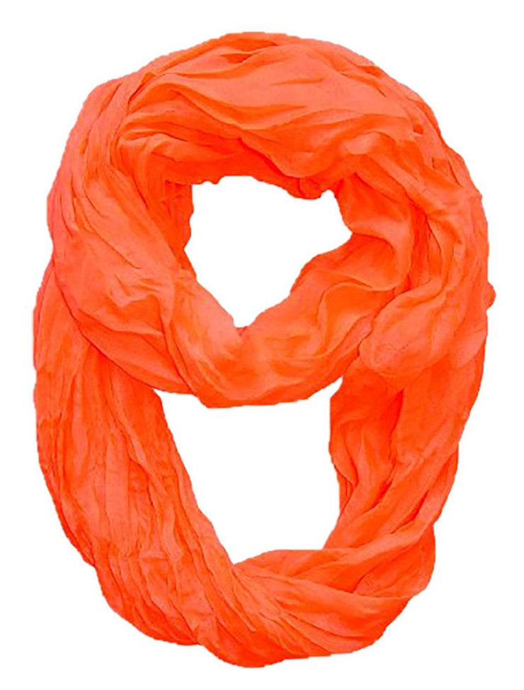 Neon Coral Peach Couture Fashion Lightweight Crinkled Infinity Loop Scarf Neon Faded Ombre