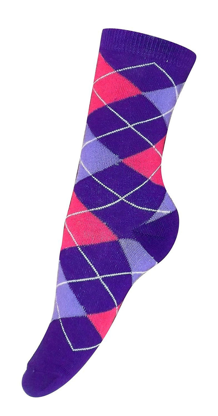 Living Socks Ladies Vibrant Argyle 3 Pair Pack Variety Crew Socks 4-10 Shoe Size