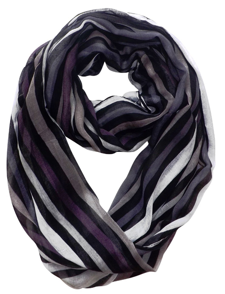 Black Peach Couture Trendy Striped Print Light and Soft Fashion Infinity Loop Scarf