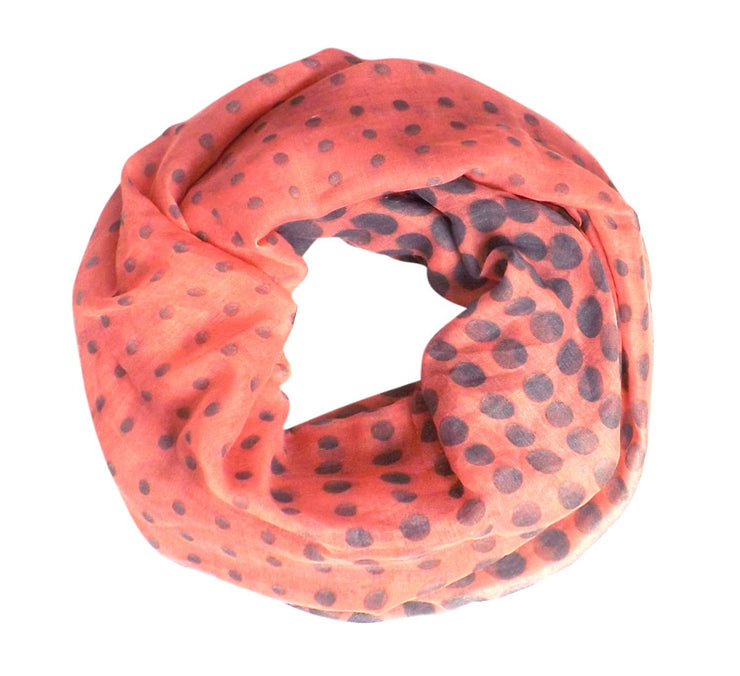 Salmon Peach Couture Vintage Multicolored Classic Bright Polka Dot Infinity Loop Scarf