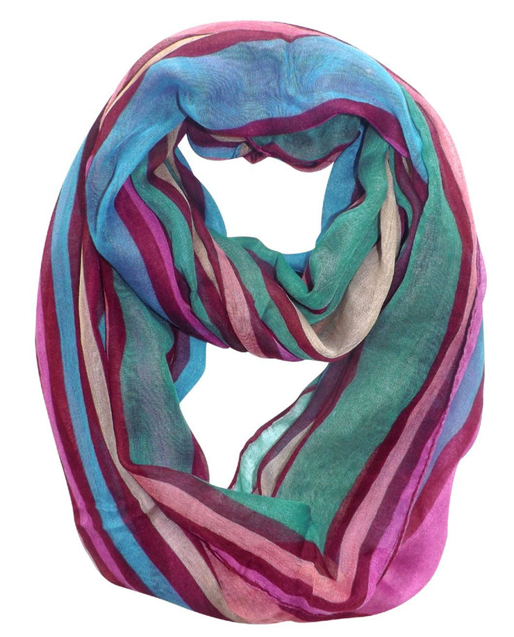Maroon Peach Couture Trendy Striped Print Light and Soft Fashion Infinity Loop Scarf