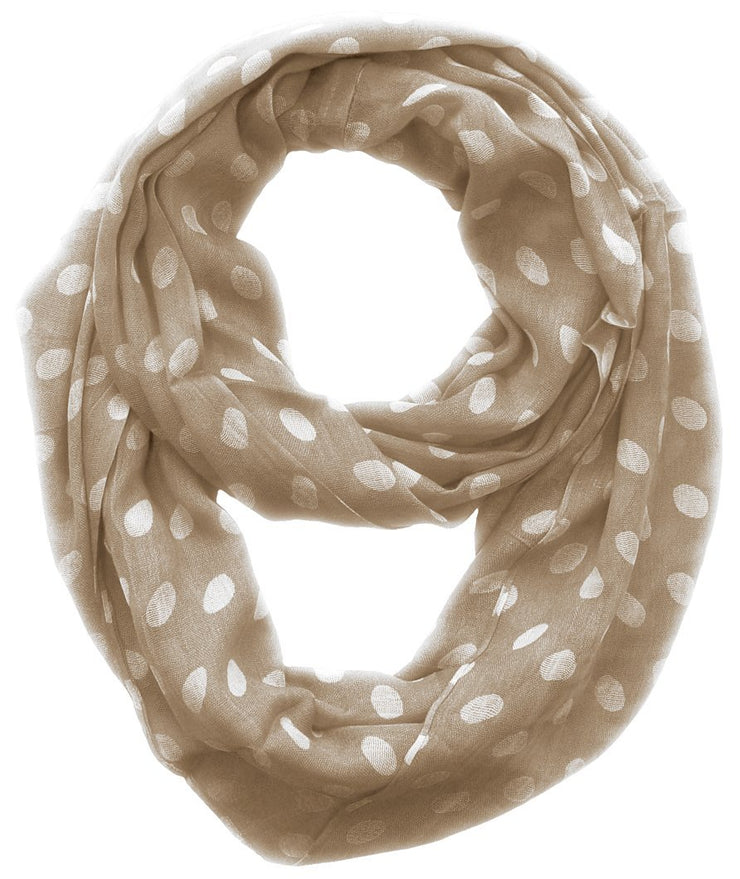 Taupe and White Peach Couture Light and Sheer Polka Dot Circle Print Infinity Loop Scarf