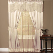 Home Collection Satin 6 piece Window Curtain Set in a Bag With Window Panels Valance Voile Panels Tasseled Tie Backs Ivory 56 in x 63 in
