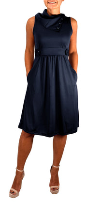 B0928-Foldover-Collar-Dress-Navy-M-OS