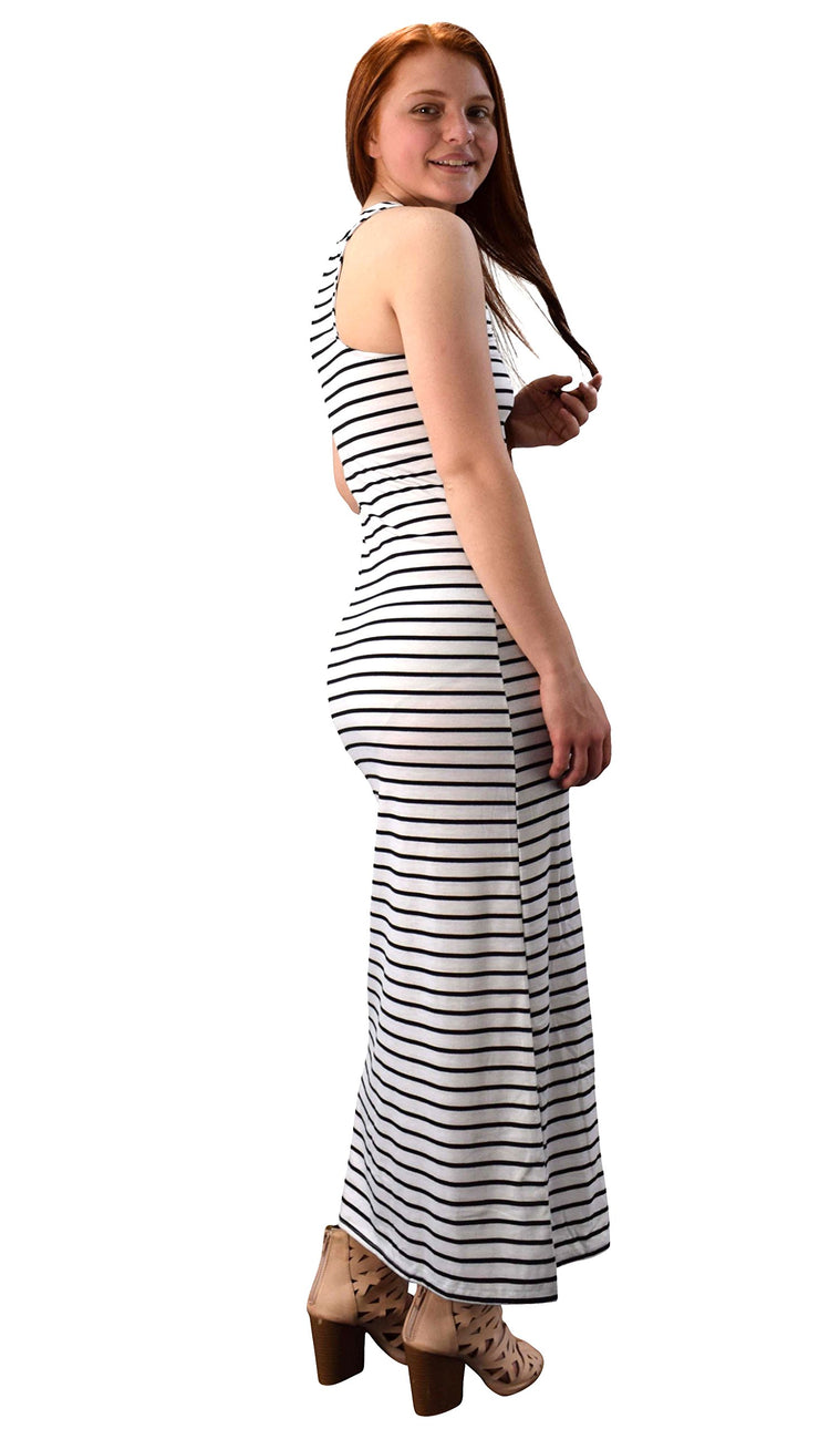 Peach Couture Racer back Summer Maxi Dress Striped Solid Sundress