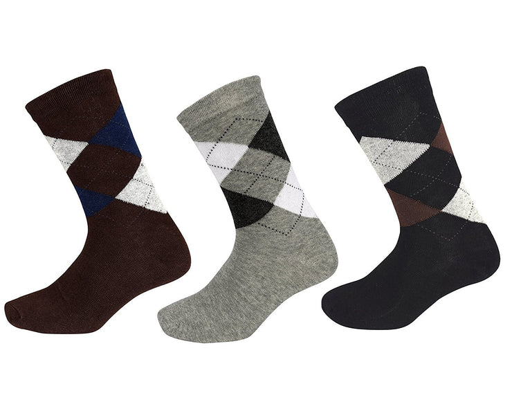 Mens Classic Fun Cotton Crew Argyle Pattern 3 Pack Socks per Box