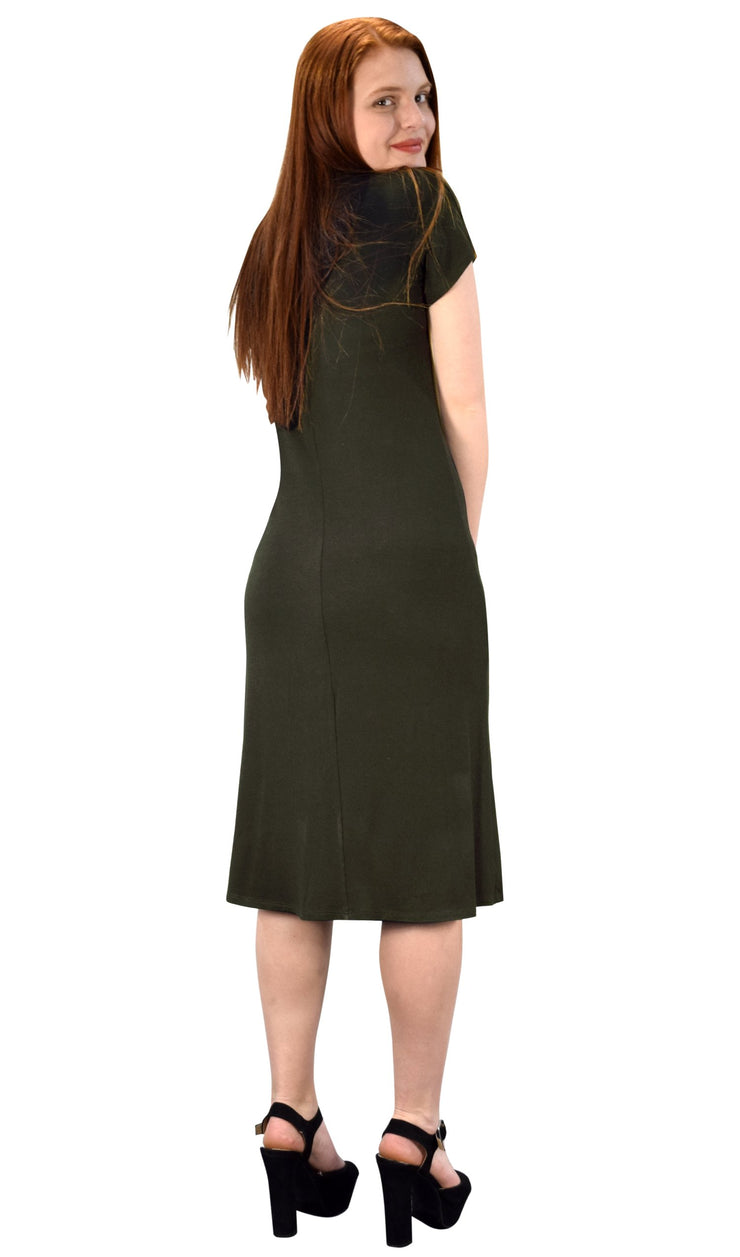 Turtle Neck Short Sleeve Bodycon Midi Dress