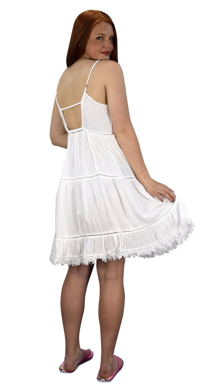 Womens Spaghetti Strap Tiered A Line Dress with Fringed Hem