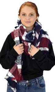 Plaid Tartan Oversized Oblong Cashmere Feel Oblong Blanket Scarves