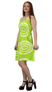 Juniors Knee Length Multicolor Exotic Smocked Printed Summer Dress (Green White Circle XL)