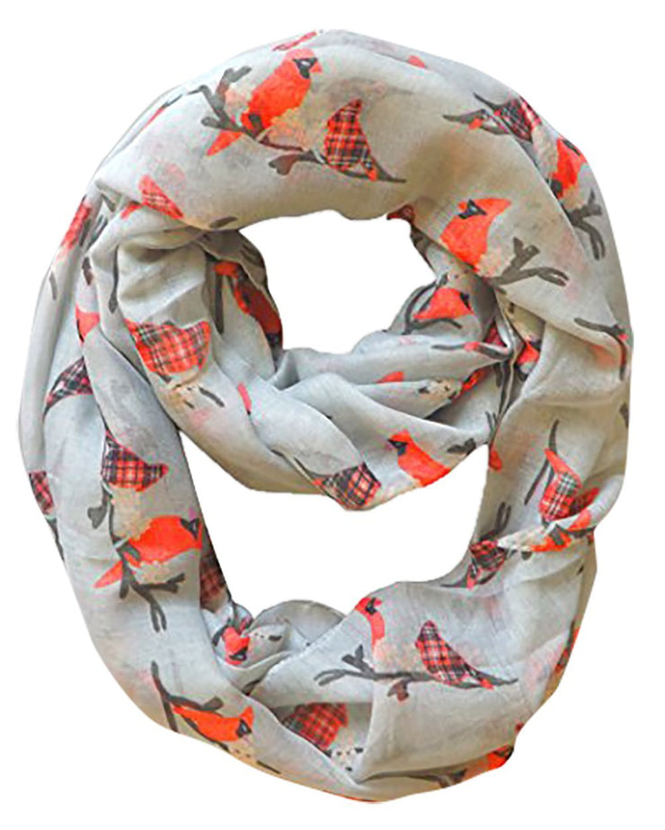 Gray Peach Couture Beautiful Vintage Two Colored Bird Print Infinity Loop Scarf Scarves