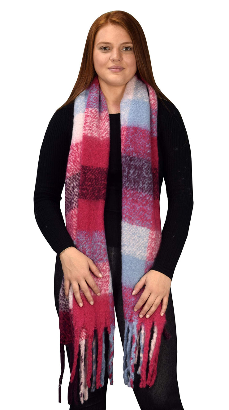 B8959-Plaid-Scarves-Chunky-Magenta-OS