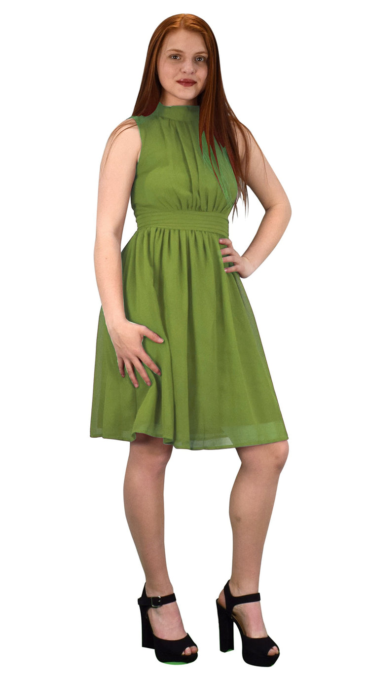 Womens Sleeveless Chiffon Classic Casual Fit & Flare Dress