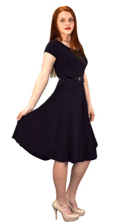 Womens Summer Fashion Waist Belt Fit and Flare Dress Black Small