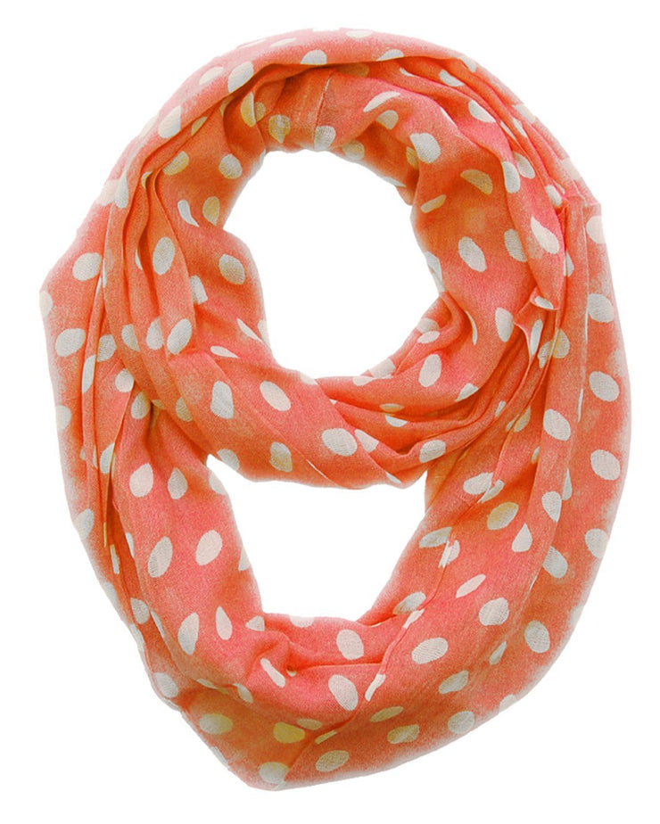 Coral and Cream Peach Couture Light and Sheer Polka Dot Circle Print Infinity Loop Scarf