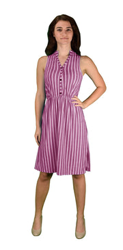 A1525-Stripe-Button-Dress-Fuch-Small-KL