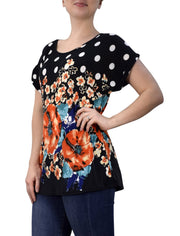 Boho Floral Print Light Weight Casual Summer Top T Shirt Blouse
