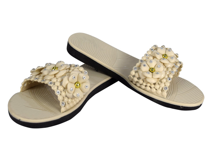Cute Floral Studded Summer Sandals Slip On Slides Flats