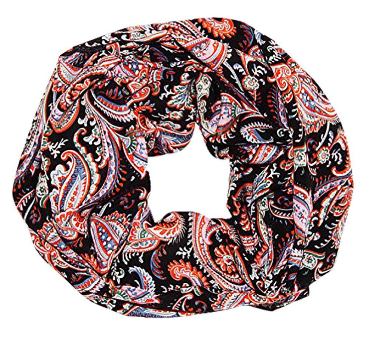 Black Peach Couture Womens Boho Floral Paisley Sheer Infinity Scarf Loop Circle Scarf