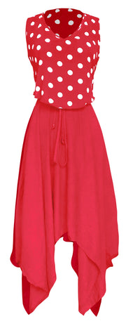 Women's Casual 2 in 1 Polka Dot Flowing Handkerchief Dress (Coral, Xlarge)