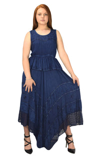 Women Rayon Stonewash Denim Embroidered Floral Handkerchief Gypsy Dress