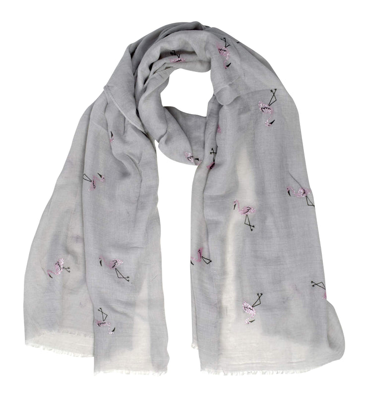 B8733-Flamingo-Scarf-Shawl-Grey-OS
