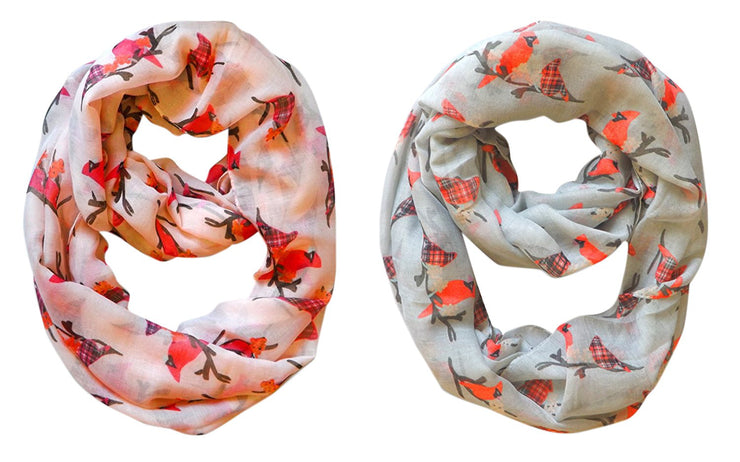 Peach Couture Beautiful Vintage Two Colored Plaid Bird Print Infinity Loop Scarfs in 2 pack