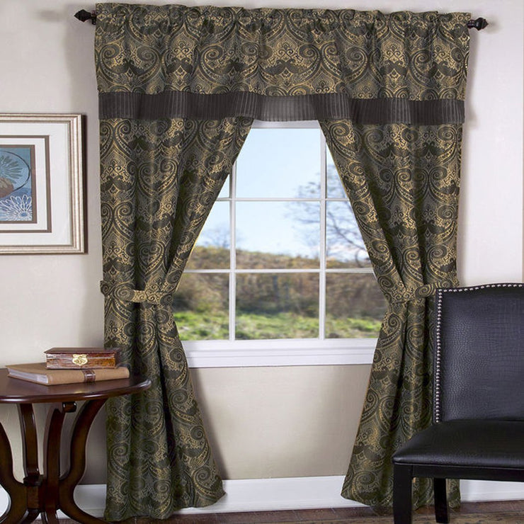 Peach Couture Window Treatment Blackout Curtains Window Set w/Attached Valance