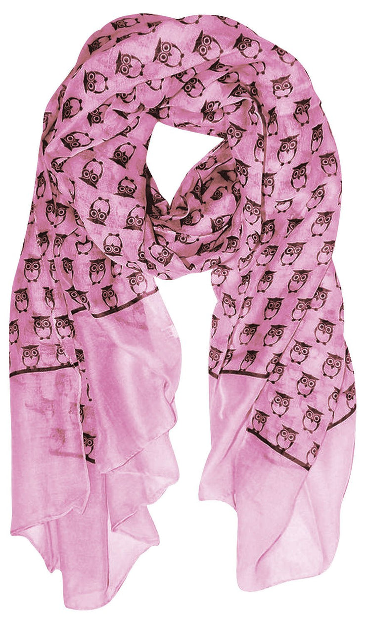 Peach Couture Summer Lightweight Soft Animal Bird Owl Printed Sheer Scarf Shawl