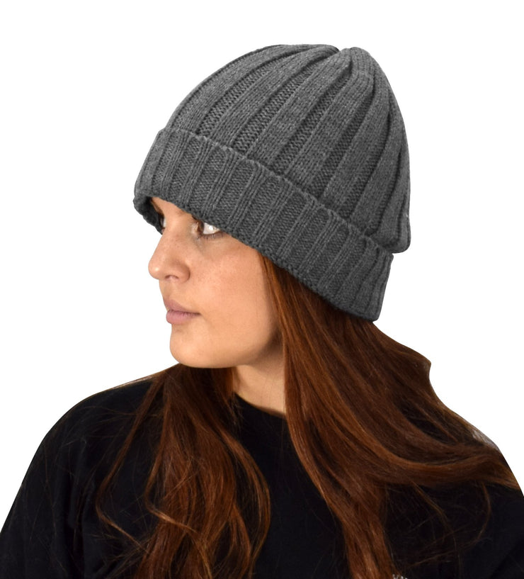 Sherpa Fleece Lined Unisex Striped Knit Winter Beanie Hat Cap