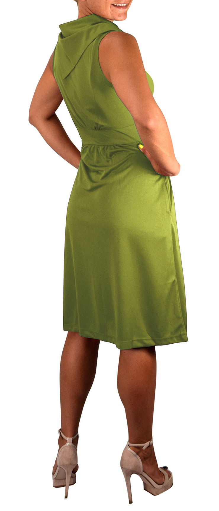 Womens Casual Sleeveless Classic Fold Over Collar A-Line Dress