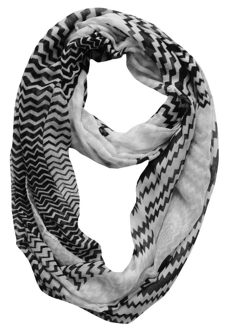 Black/White Peach Couture Modern Radiant Multicolored Chevron Geometric Infinity Loop Scarf