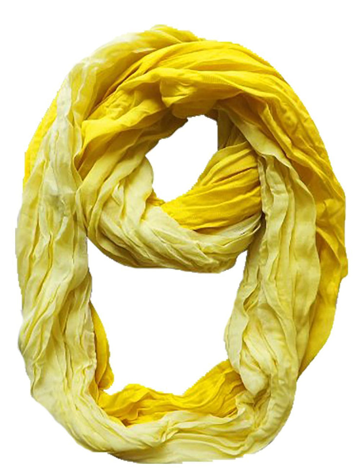 Ombre Yellow Peach Couture Fashion Lightweight Crinkled Infinity Loop Scarf Neon Faded Ombre