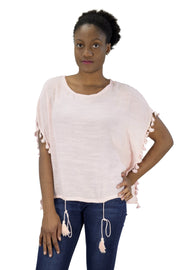 Peach Couture Womens Light Weight Tasseled T Shirt Blouse