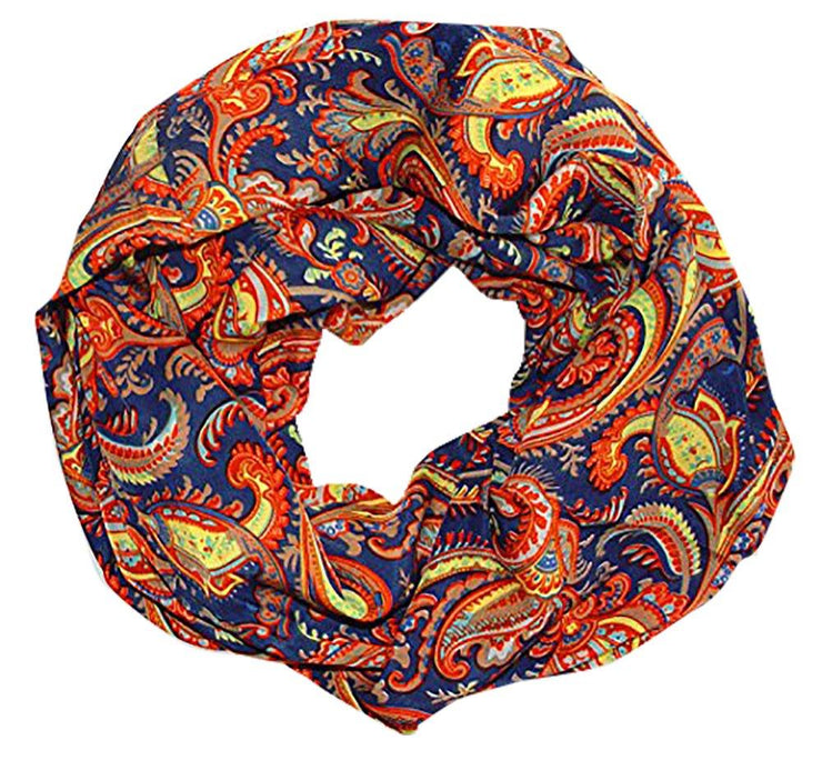 Navy Peach Couture Womens Boho Floral Paisley Sheer Infinity Scarf Loop Circle Scarf