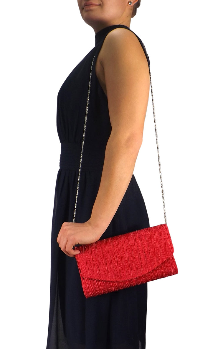 Womens Vintage Satin Pleated Envelope Evening Cocktail Wedding Party Handbag Clutch