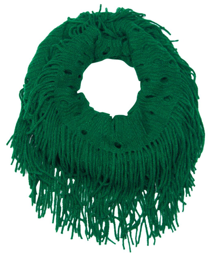 Green Peach Couture Warm Bohemian Crochet Hand Knitted Fringe Infinity Loop Scarf Wrap