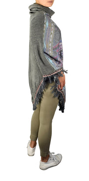 Bohemian Fashion Cowl Neck Winter Ponchos Sweaters Pullovers