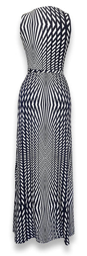 Striped Metal Embellished Sleeveless Belted Maxi Dress