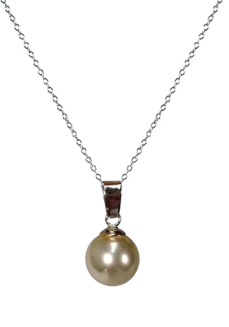 Women Round White Simulated Pearl Classic Sterling Silver Necklace Pendant