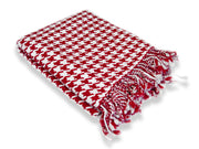 Home Collection Soft and Luxurious Cashmere Wool Houndstooth Throw 50 x 60 in (Red)