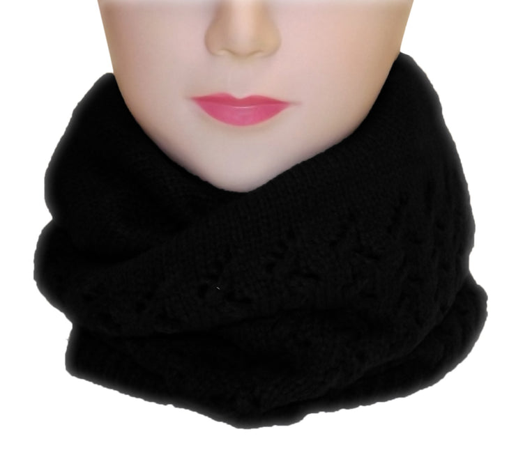 Womens Knit Thick Warm Slouch Beanie Ski Hat Cap (Ebony)