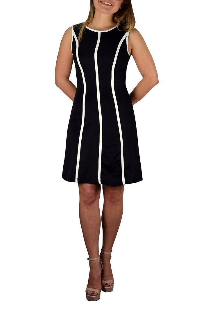 Striped Sleeveless Solid Color A-Line Cocktail Party Dress