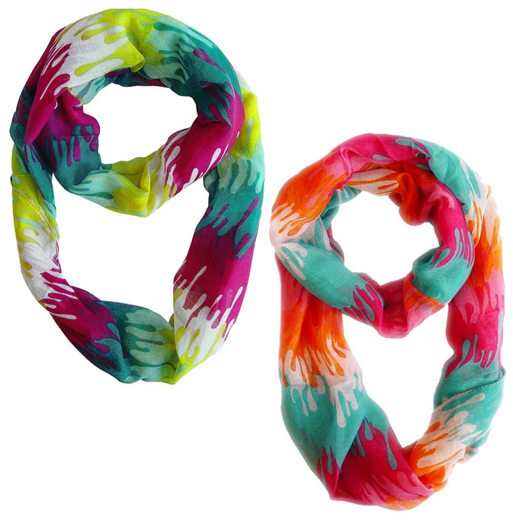 Pink Orange and Fuchsia Yellow Peach Couture Trendy Abstract Multicolored Paint Design Infinity Loop Scarf/wrap