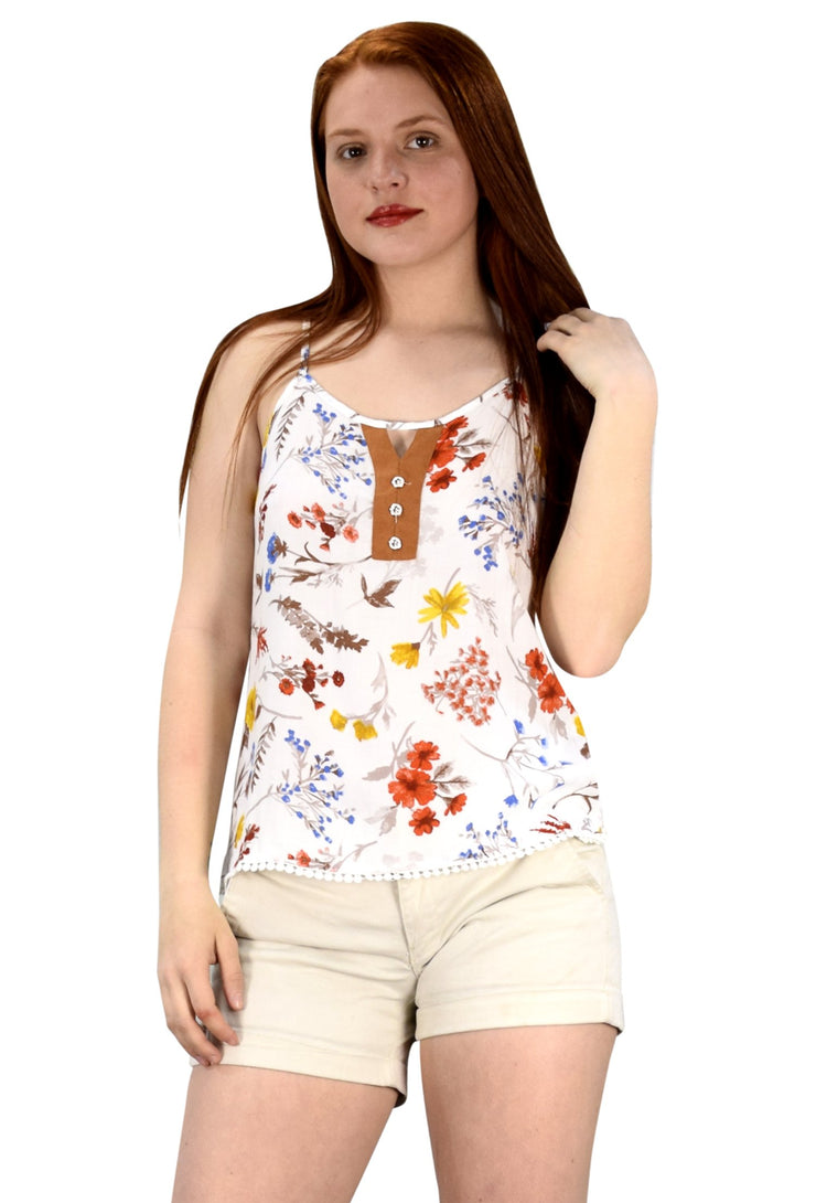 Sleeveless Spaghetti Strap Button Up Floral Print Summer Blouse Top