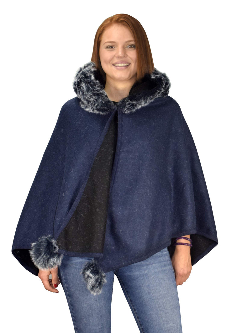 Womens Faux Fur Relaxed Fit Poncho Cape Pullover Sweater